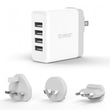 ORICO 34W 4 Port USB Smart Wall Charger with UK, AU, EU Add-on AC Plug (DSP-4U)