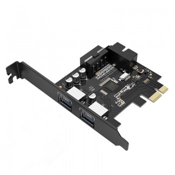 ORICO 2 Port USB3.0 PCI-E Expansion Card with 1 * 19 Pin Slot (PVU3-2O2I)